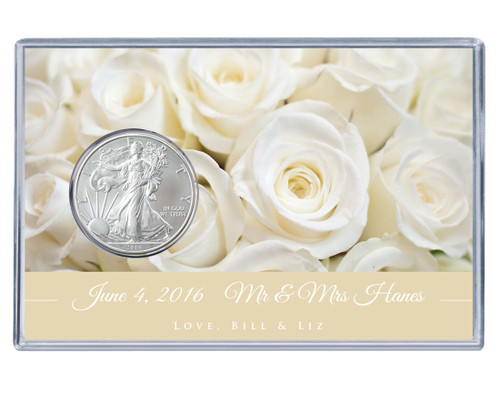 Wedding Silver Eagle Acrylic Display - White Roses