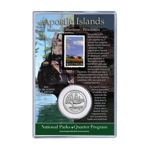 2018 Wisconsin Apostle Island Coin & Stamp Set