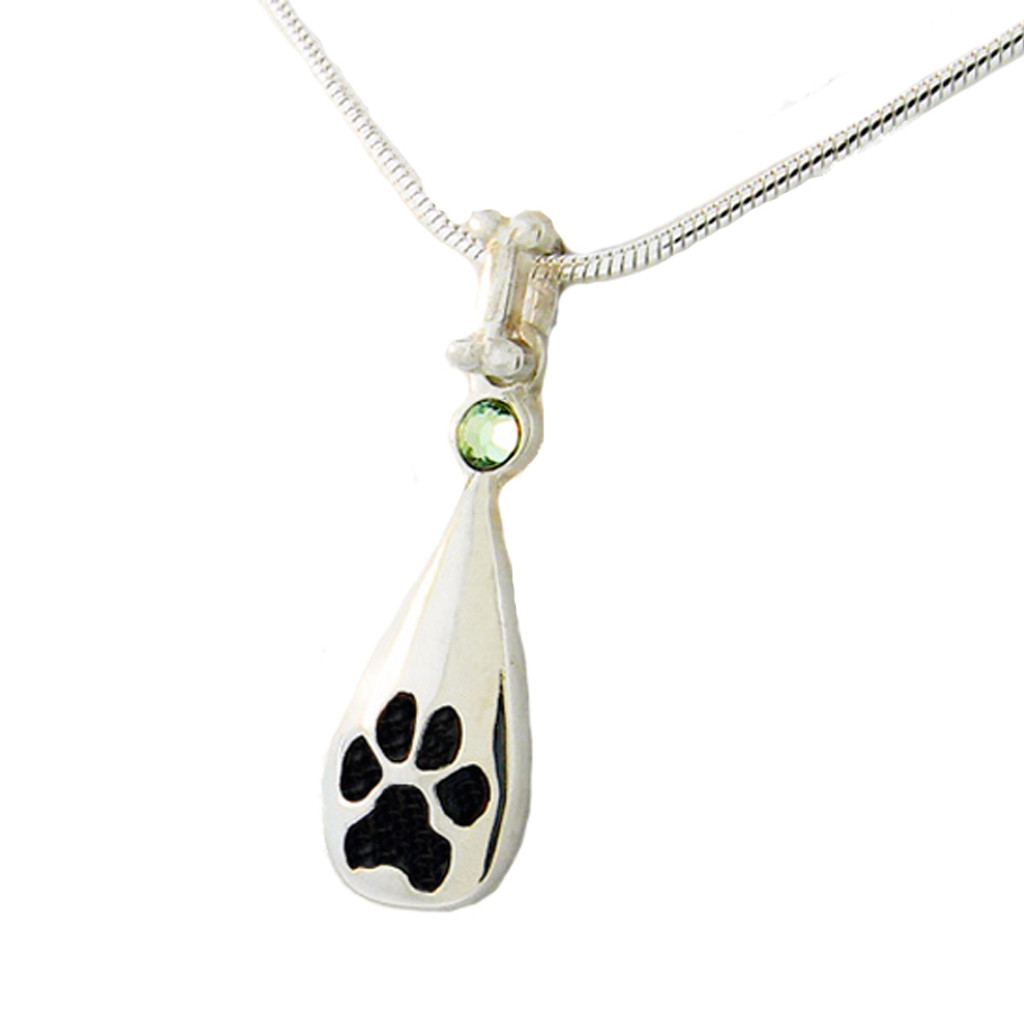 Custom Paw Tear Drop Pendant with Crystal