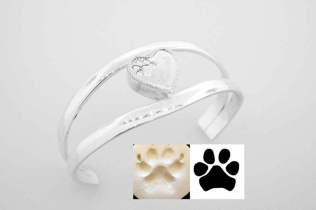 Heart Keepsake Cuff with Custom Paw