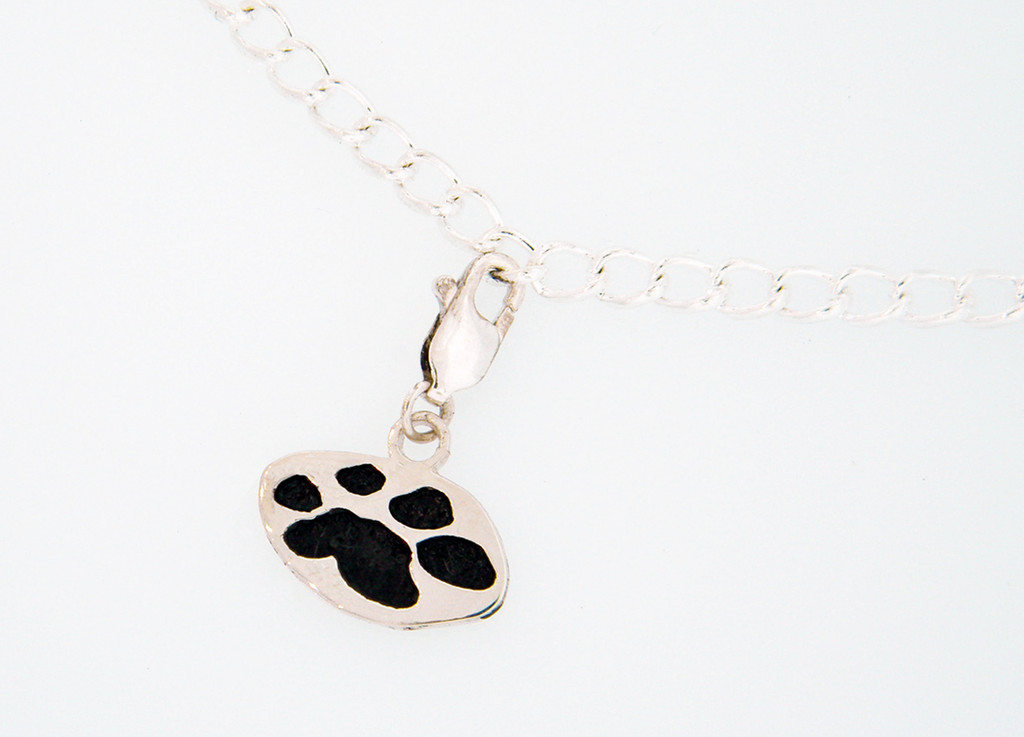 """Shown with Black Paw on 7.5"""" Sterling Silver Charm Bracelet"""