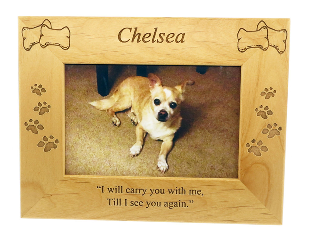 4 Paws Photo Frame - Natural Wood with Bones