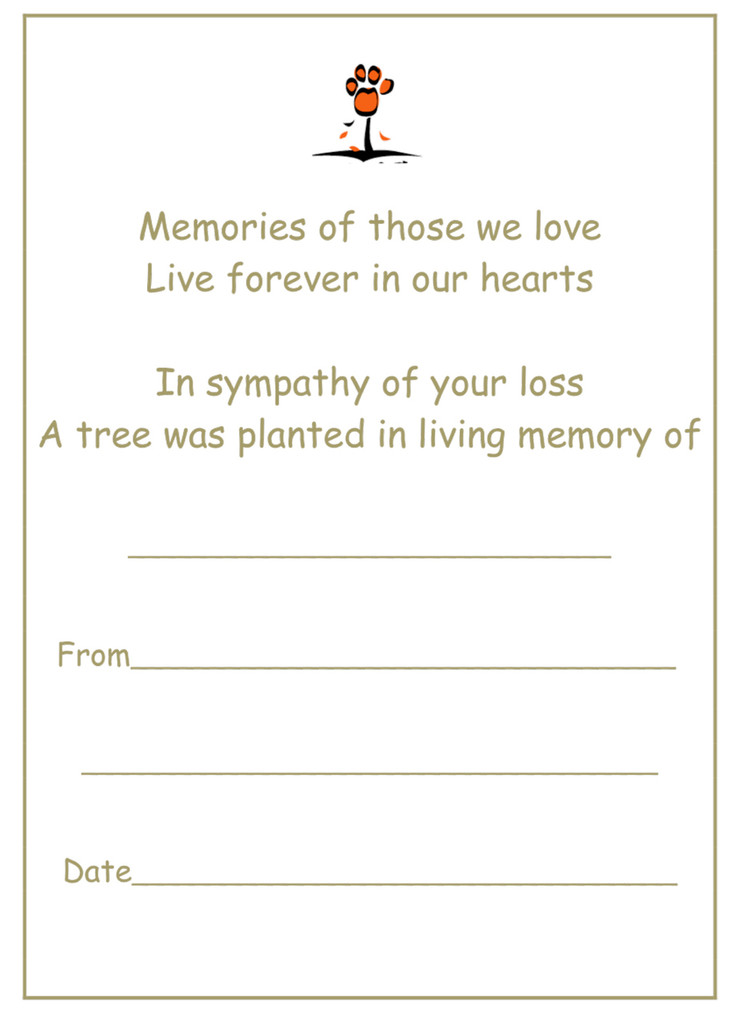 4 Paws Sympathy Card with Tree - In Memory of