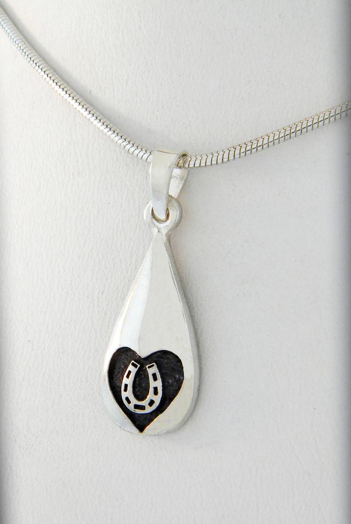 Captured Heart Tear Drop Pendant with Horseshoe