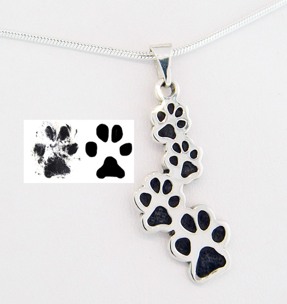 Sterling Silver Journey Pendant made from custom paw print with Black Paw Option.