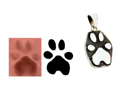 Raised Single Paw Pendant with Custom Paw
