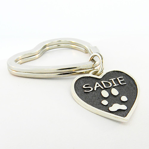 Shown on heart Key Ring