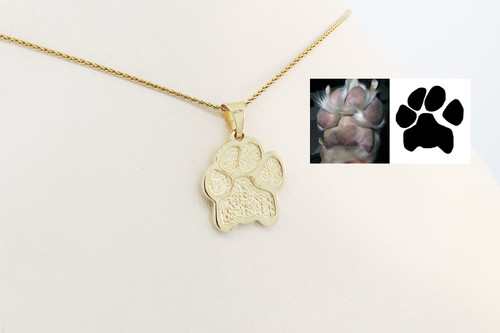 A Single Paw Pendant with Custom Paw - Gold