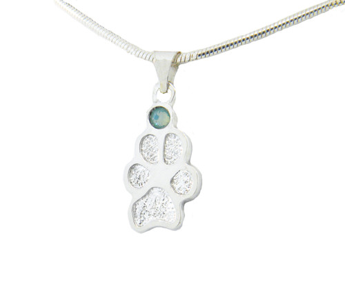 Custom Single Paw Pendant with Crystal
