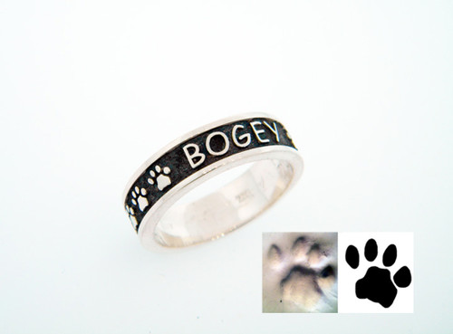 Companion Ring with Raised Lettering and Custom Paws
