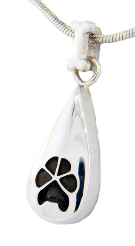 Custom Paw Tear Drop Keepsake with Bone Bail