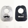 FRONT: Silver w/Mustache in Black BACK: Black w/name in Silver