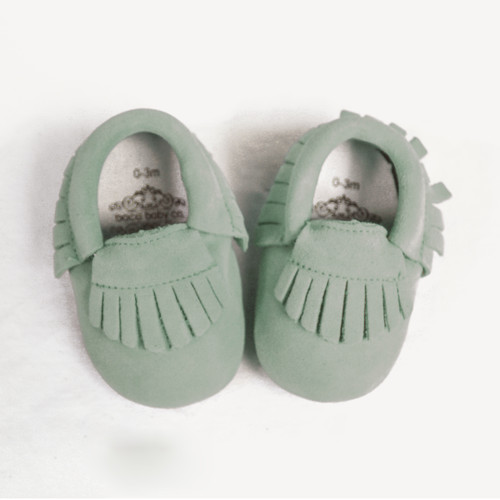 Leather Moccasins - Sea Foam