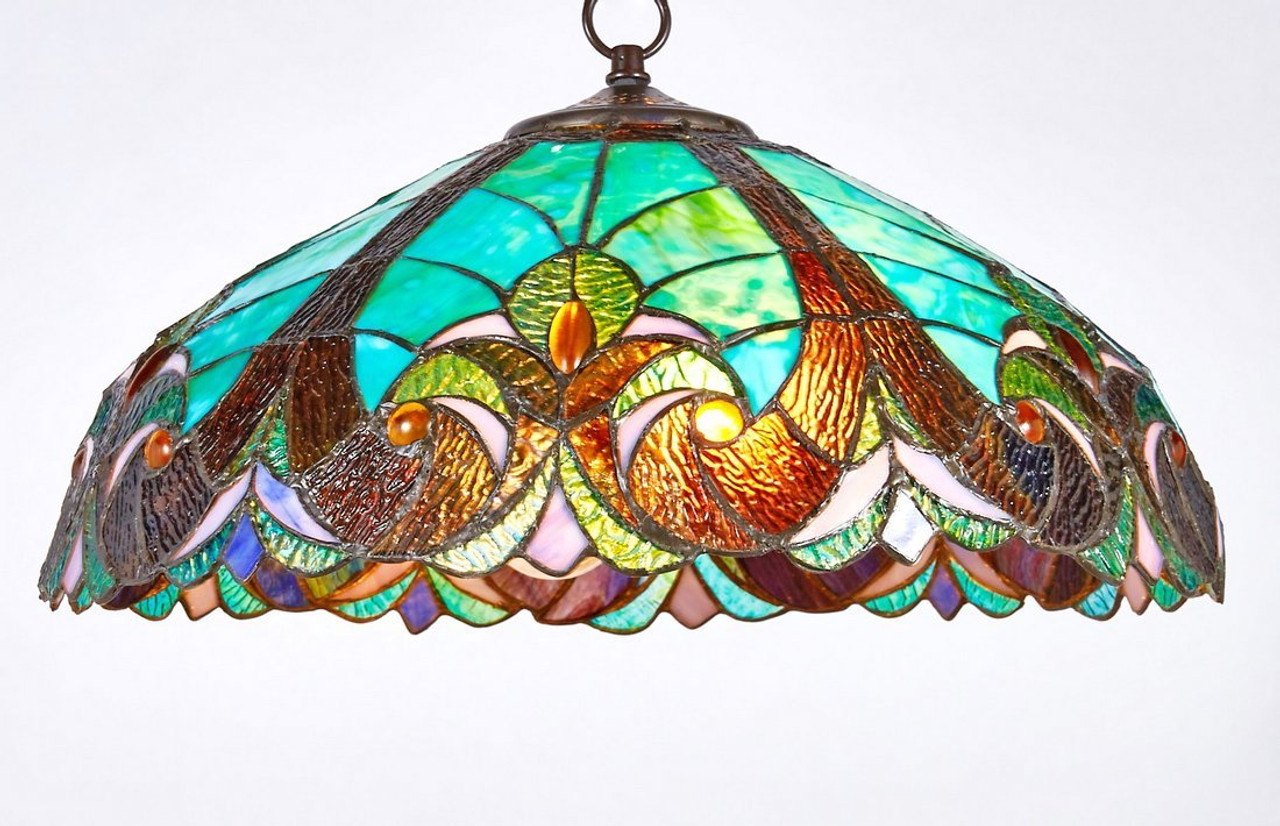 lamps design hanging india pendant stained pastoral leaf light ideas lamp glass l