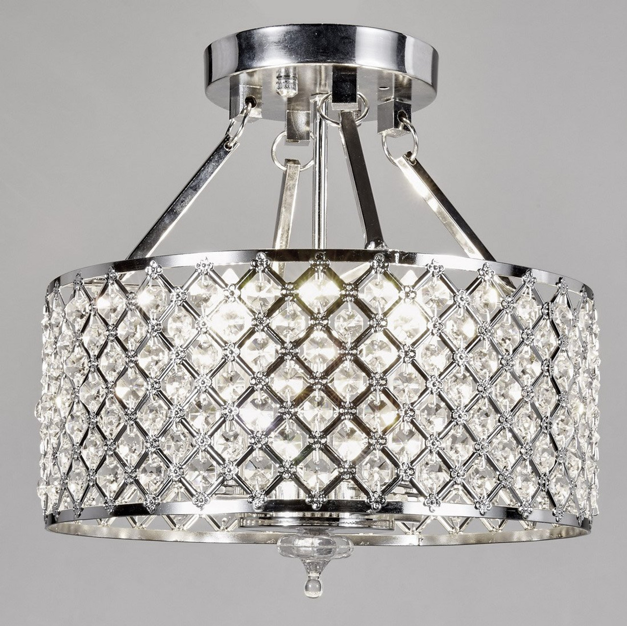 New galaxy 4 light chrome finish round metal shade crystal new galaxy 4 light chrome finish round metal shade crystal chandelier semi flush mount aloadofball Choice Image