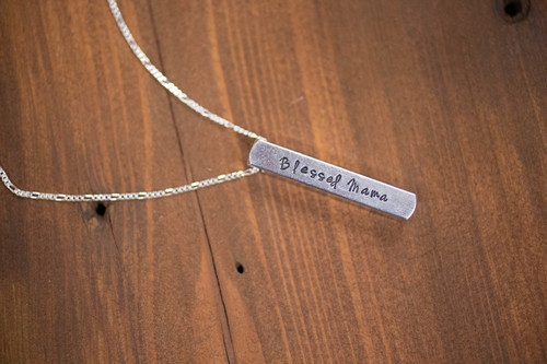 long roman personalized sides bar vertical necklace numeral