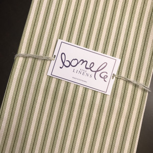 Bonela Linens - Olive Ticking