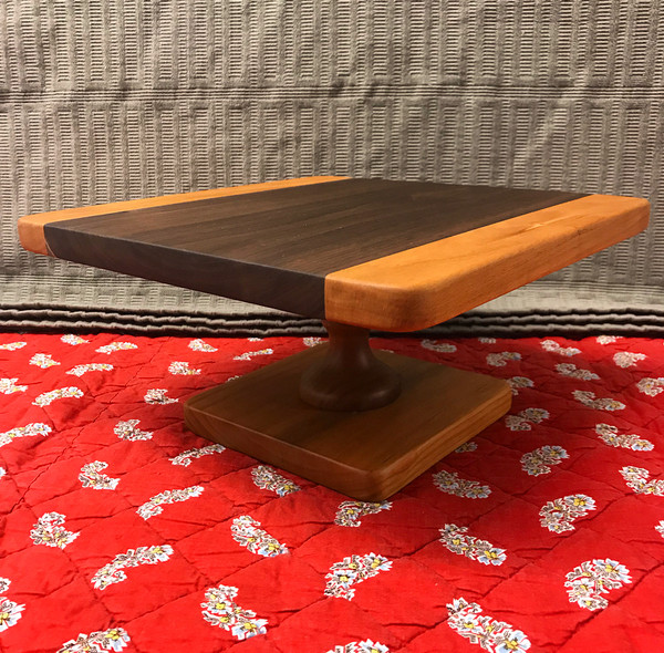 Square Cake Stand - Walnut + Cherry