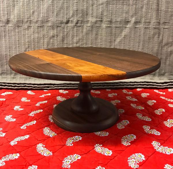 Round Cake Stand - Walnut + Cherry