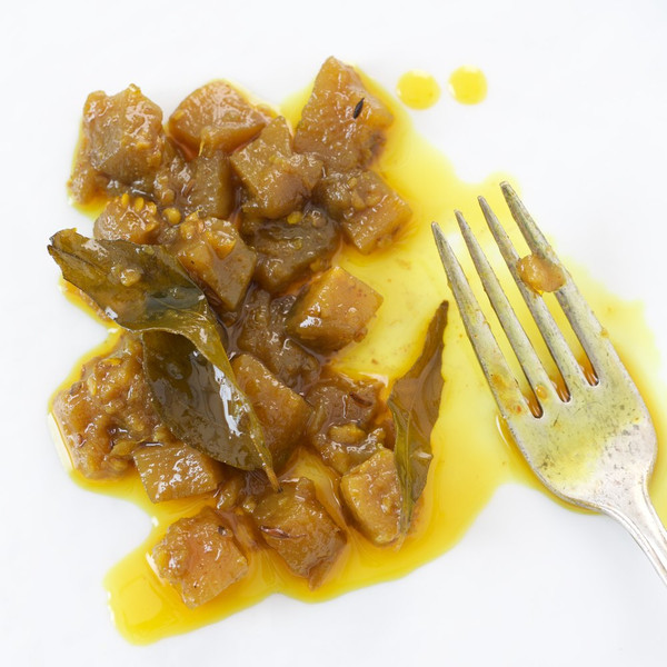 Brinjal Caponata (Purple Aubergine with Cumin & Curry Leaves)