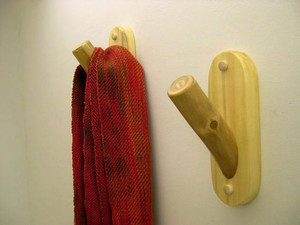 Log Bath Robe Hooks Pair/ Kitchen Hooks (Clear Finish)