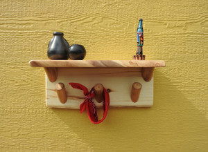 Log Coat Rack with Shelf (Clear Finish)