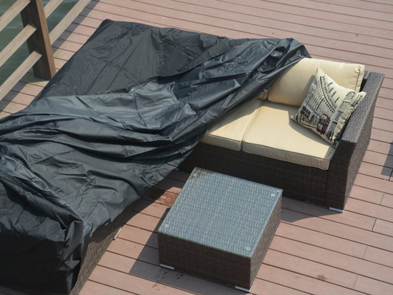 Direct Wicker Bambi Square Patio Dining And Sofa Set Cover