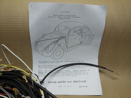 1960 VW Volkswagen Bug Convertible COMPLETE Wiring Works Harness Kit Wire Harness Vw Bug on hot rod wire harness, vw dune buggy wire harness, honda wire harness, vw golf wire harness, ford wire harness, car wire harness, bus wire harness, motorcycle wire harness, corvette wire harness,