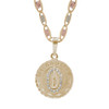 Yellow Gold Baptism Medal  - CZ - Virgin Mary - 14 K - BPT-612
