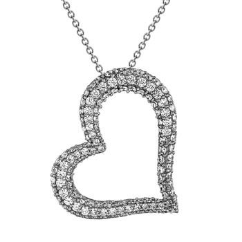 Heart Shaped Silver Pendant- CZ - 0.925 - PW021