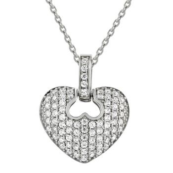 Heart Shaped Silver Pendant- CZ - 0.925 - PW011