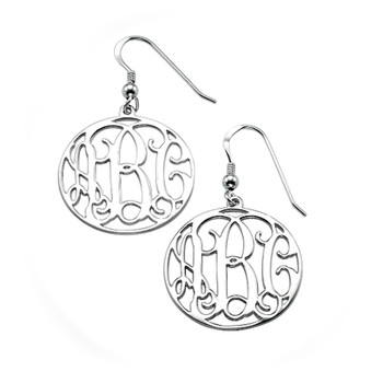 Silver Monogram Earrings - 0.925 - ANS012