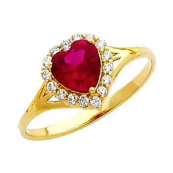 Yellow Gold Ring - CZ - 14 K - RG382
