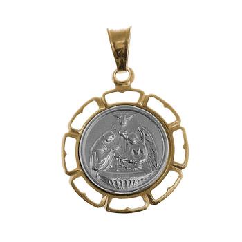 White / Yellow Gold Baptism Medal - 14 K - BPT013