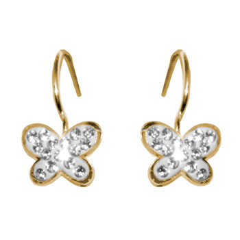 Gold Earrings with CZ - 14 K - 808901