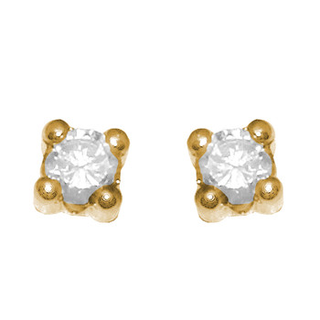 Yellow Gold stud earrings, decorated with CZ. - 653401