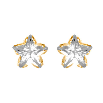 Yellow Gold stud earrings, decorated with CZ. - GE6