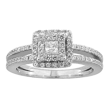 White Gold Engagement Ring with Diamonds - 59055