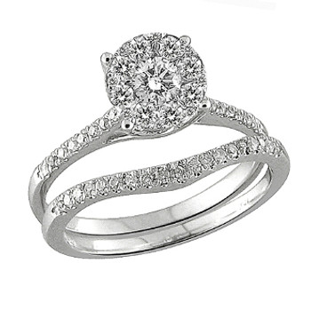 White Gold Engagement Ring / Band with Diamonds - 59059
