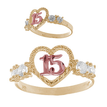 Forever 15 - Yellow /White / Red Gold Ring with CZ - KR164