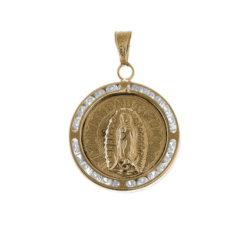 Yellow Gold Baptism Medal with CZ - 14 K - BPT004
