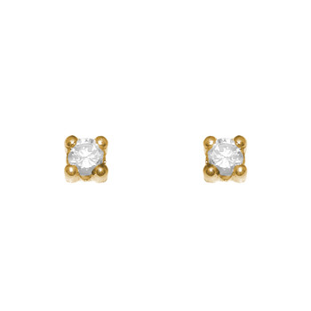 Yellow Gold stud earrings, decorated with CZ. - 653501