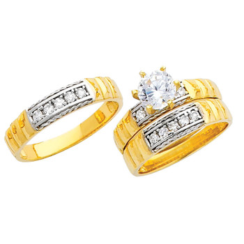 Yellow / White Gold Trio Set CZ - 14 K - TC225
