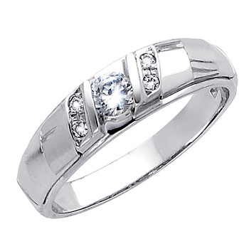 White gold wedding band with CZ. 14K  3.9 gr. - RG171