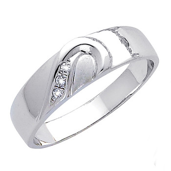 White gold wedding band with CZ. 14K  3.6 gr. - RG169