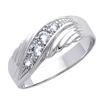 White gold wedding band with CZ. 14K  3.2 gr. - RG163