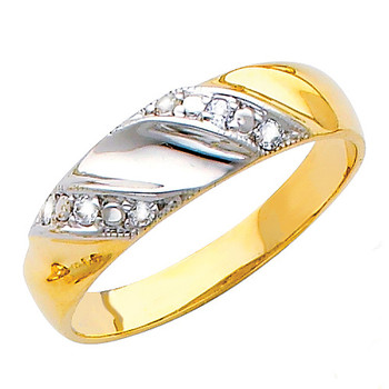 Yellow & White gold wedding band with CZ - 14K  3.2 gr. - RG155