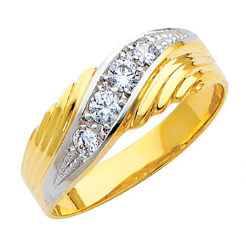 Yellow & white gold wedding band with CZ - 14K  3.2 gr. - RG145