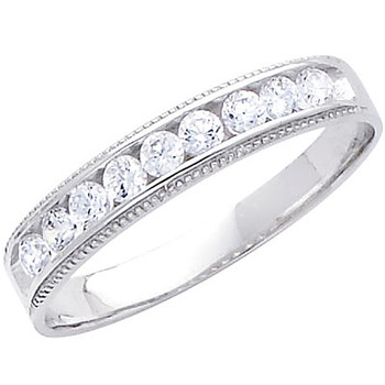 White gold wedding band with CZ. 14K  2.7 gr. - RG233