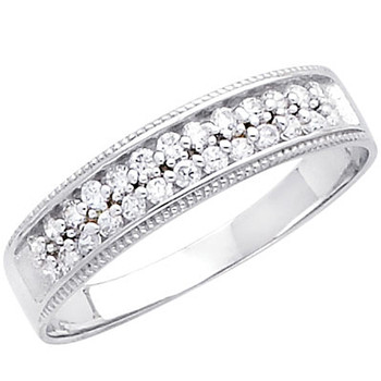 White gold wedding band with CZ. 14K  2.6 gr. - RG231